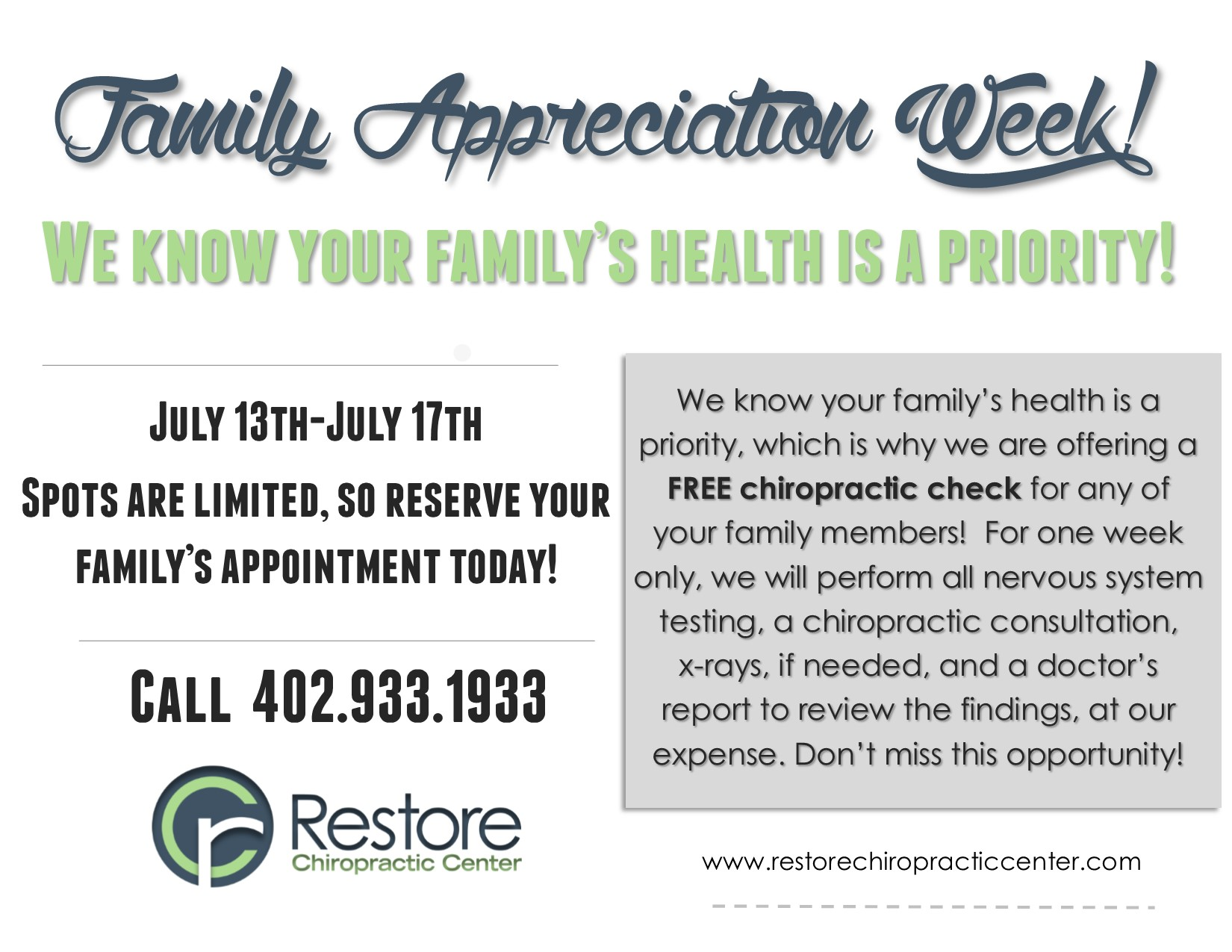 free family check week, 2015
